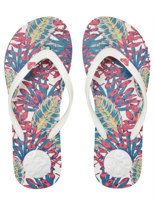 ROXY WOMENS FLIP FLOPS.NEW TO THE SEA FLOWERED WHITE BEACH THONGS SANDALS S20 7